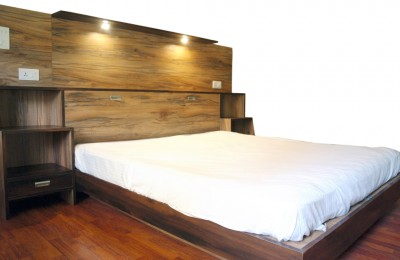 Bed with utility head board and storage